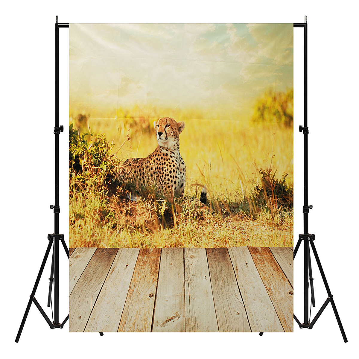 5x7ft Vinyl Love Wood Floor Cheetah Kids Theme Backdrop Photography Photo Prop