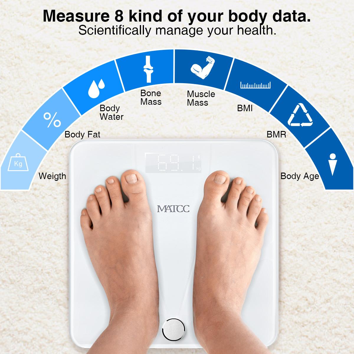 MATCC bluetooth Body Fat Scale DigitalBathroomWeightScale