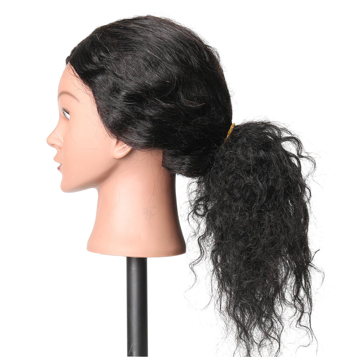 48cm 100% Human Hair Hairdressing Mannequin Head
