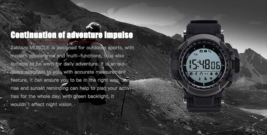 Zeblaze MUSCLE BT 4.0 50M Waterproof Pedometer Altimeter Message Reminder Sports Smart Watch