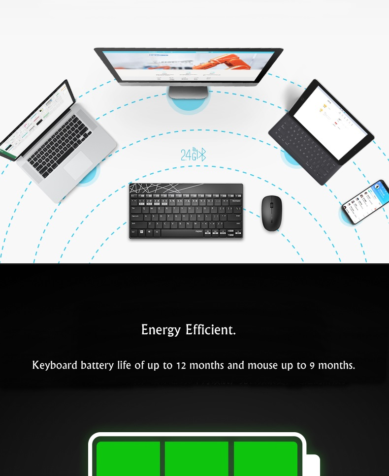 Rapoo 8000M Wireless bluetooth 3.0/4.0 Keyboard And Mouse Combo Set