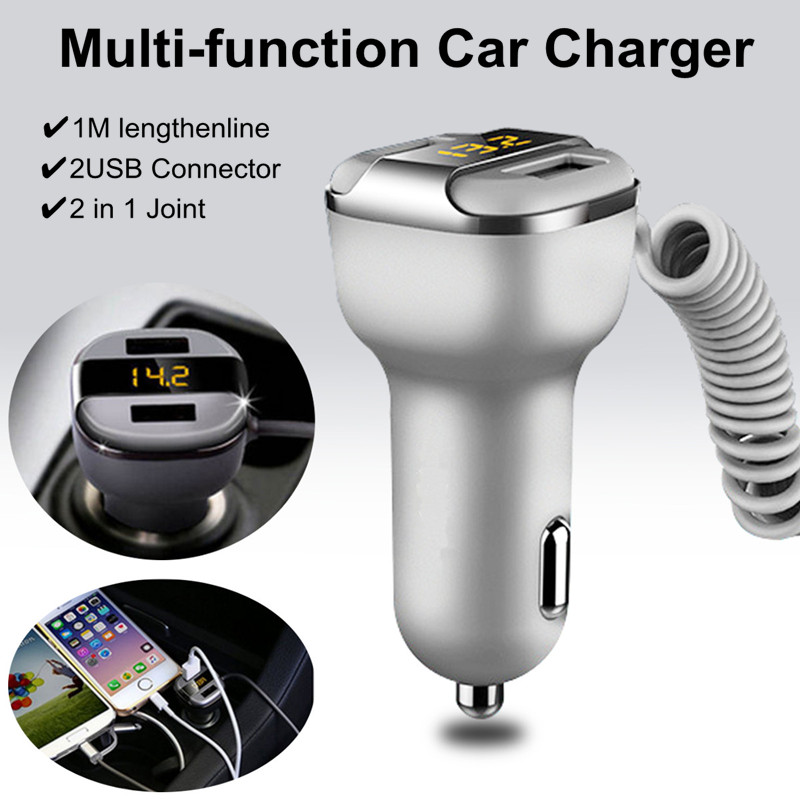 Dual USB Car Charger LED Display With 2 In 1 USB Cable For iPhone 7/7Plus Samsung Xiaomi