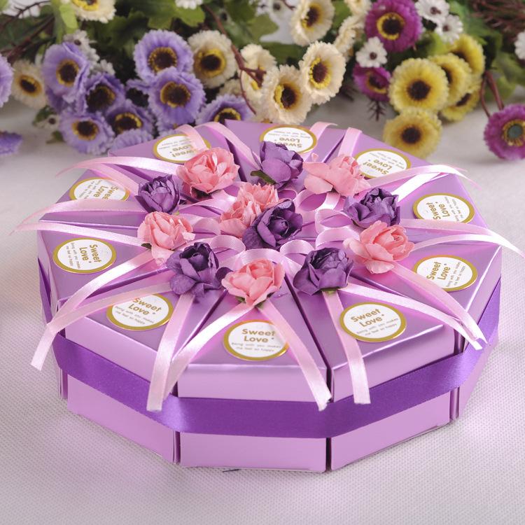 10pcs Creative Cake Candy Box Wedding Party Cake Chocolate Gift Boxes