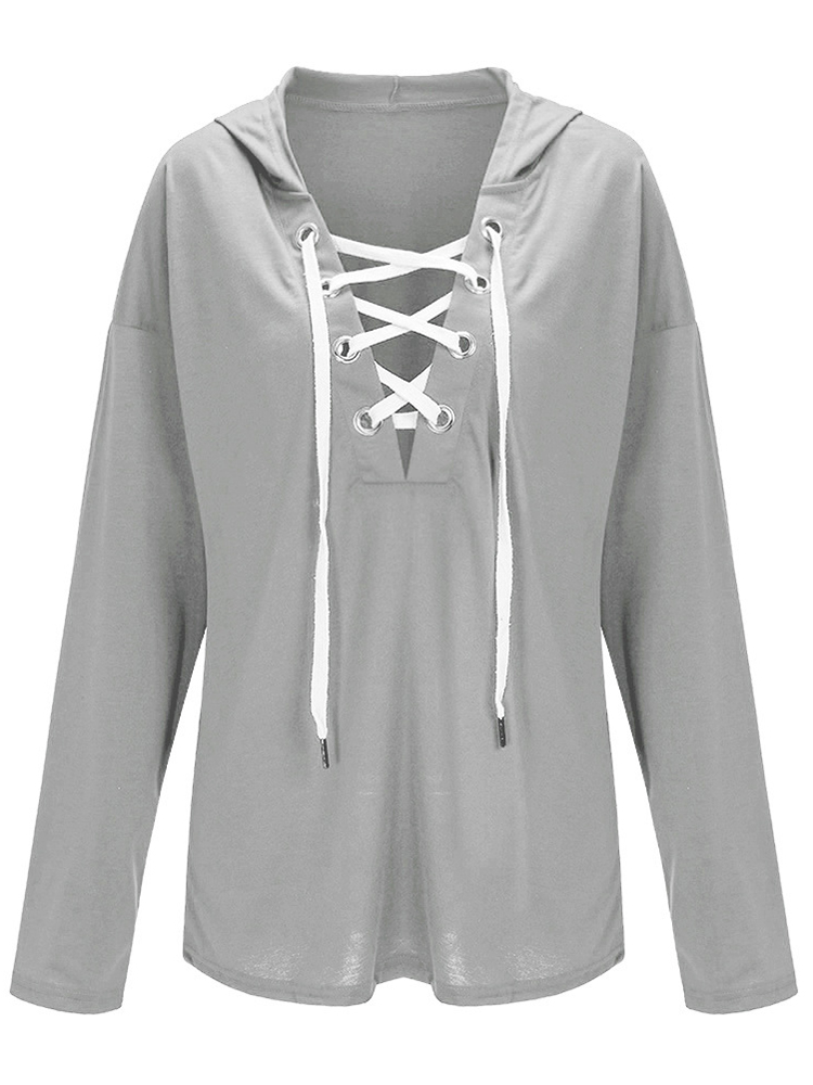 Casual Women Long Sleeve Deep V Necklace Up Hoodies Sweatshirts