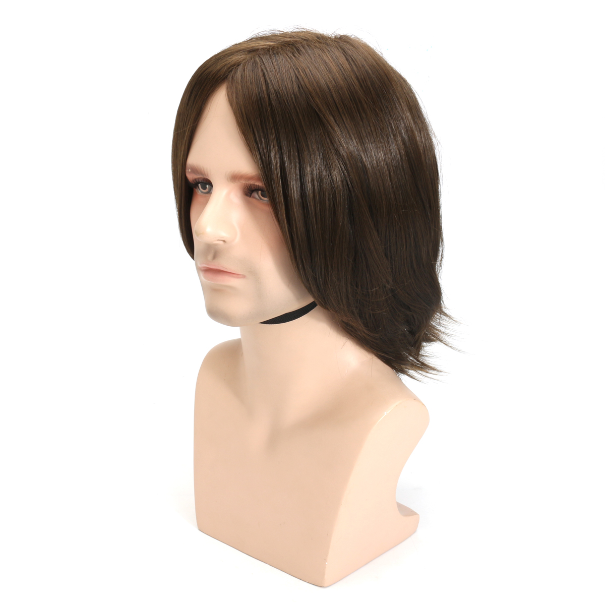 Men Brown Hair Wig Cosplay Natural Net Cap Medium Long Heat Resistant High Temperature Fiber