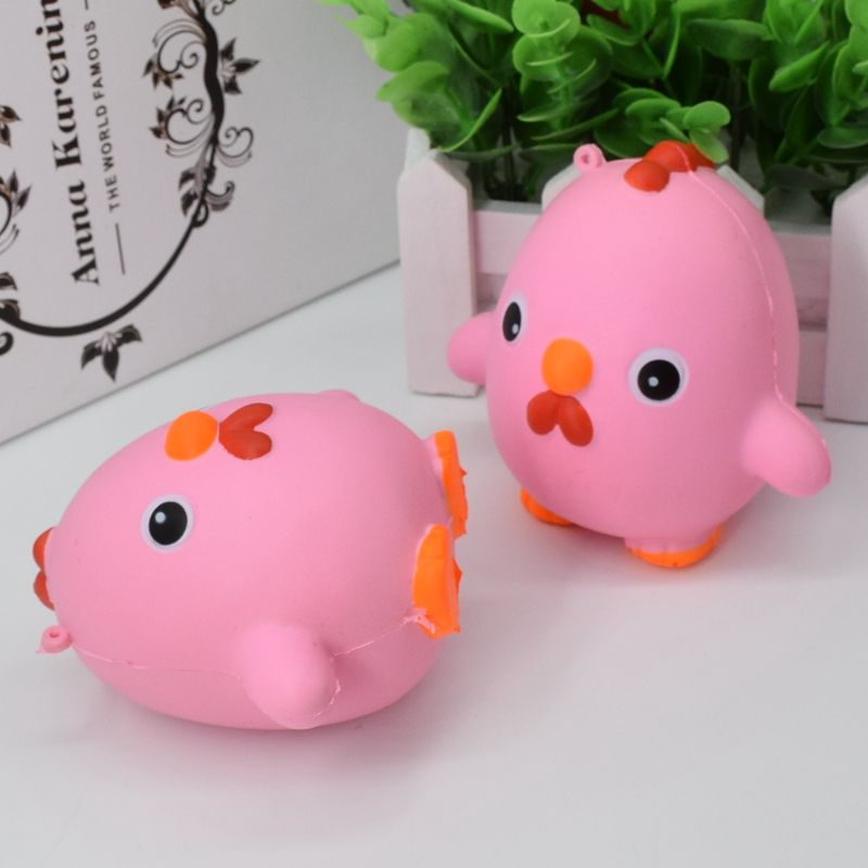 Squishy Pink Chicken Jumbo 10cm Slow Rising Collection Gift Decor Soft Toy Phone Bag Strap