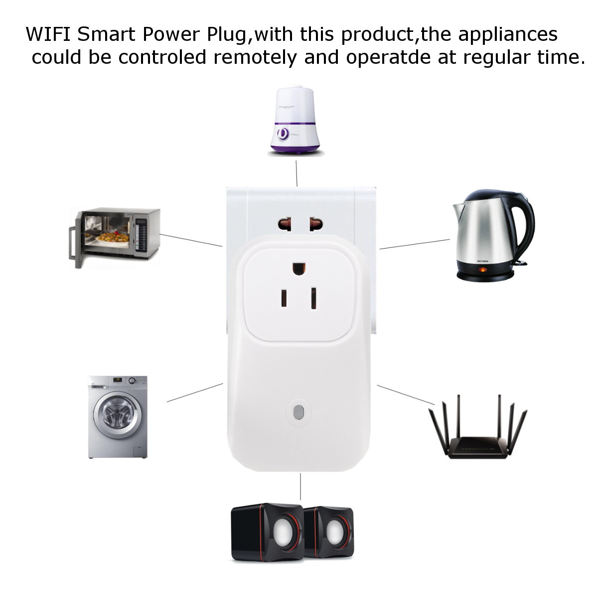 Safeguard Phone APP Remote Control WiFi Wall Plug Smart Socket