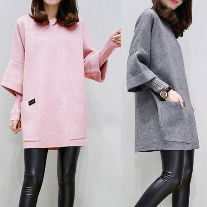 Plus Size Women False Two Pieces Woolen Dress