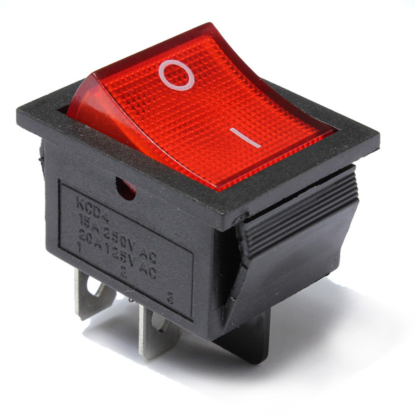 20pcs Red Light Lamp 4 Pin DPST ON-OFF Rocker Boat Switch 13A/250V 20A/125V