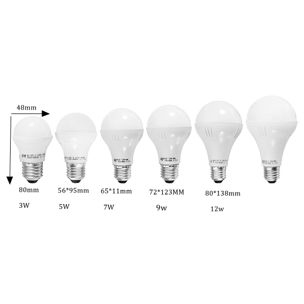 E27 3W 5W 7W 9W 12W Warm White Pure White LED Global Light Bulb AC220V