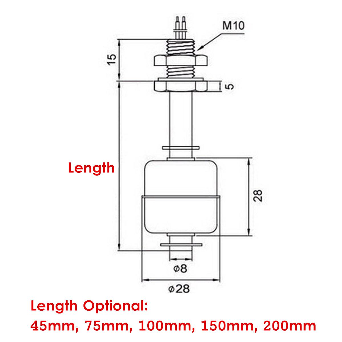 Stainless Steel Water Flow Tank Vertical Float Switch Liquid Sensor Level Controller