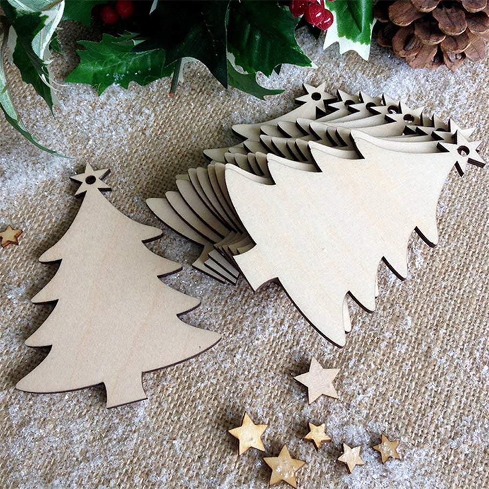 Image of 10 Stücke Blank Weihnachtsbaum Holz Chip Blatt Hängen Tags Ornament Laser Gravur Holz DIY Handwerk