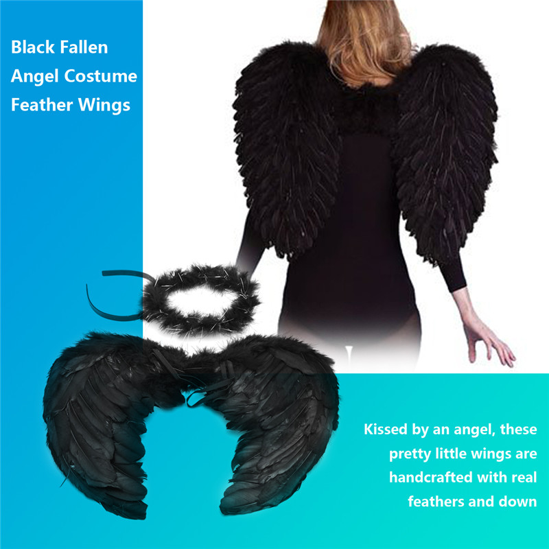 Halloween Fancy Dress Feather Angel Fairy Wings and Halo Black And White
