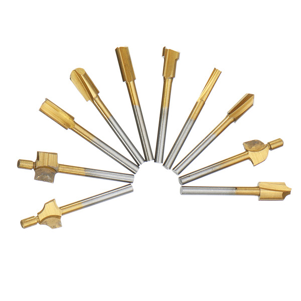 10pcs Titanium Coating Wood Router Bits Rotary File Bur