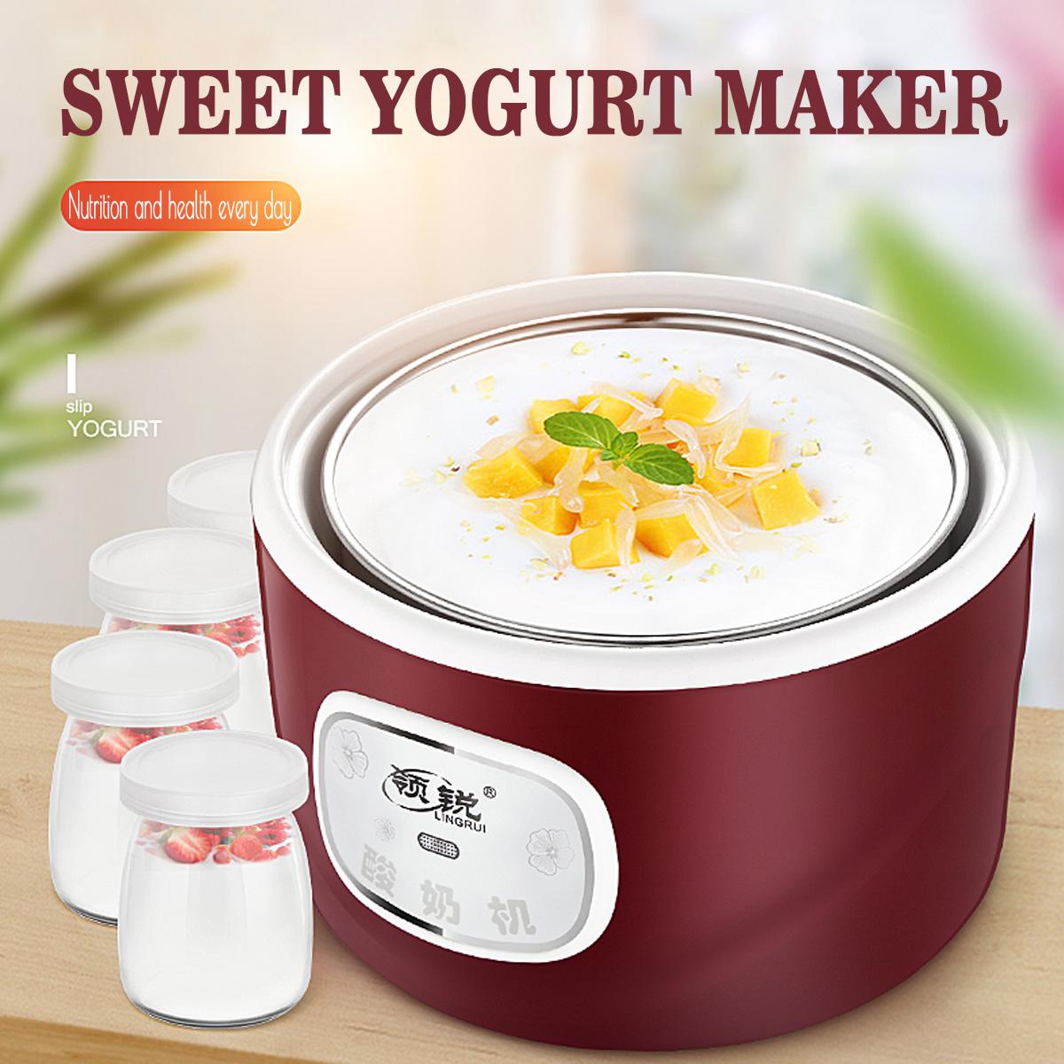 4 Glass Jars Automatic Yogurt Machine Rice Wine Machine Yogurt Maker Kitchen Electric Tools Rice Cooker CN Plug With Adapter