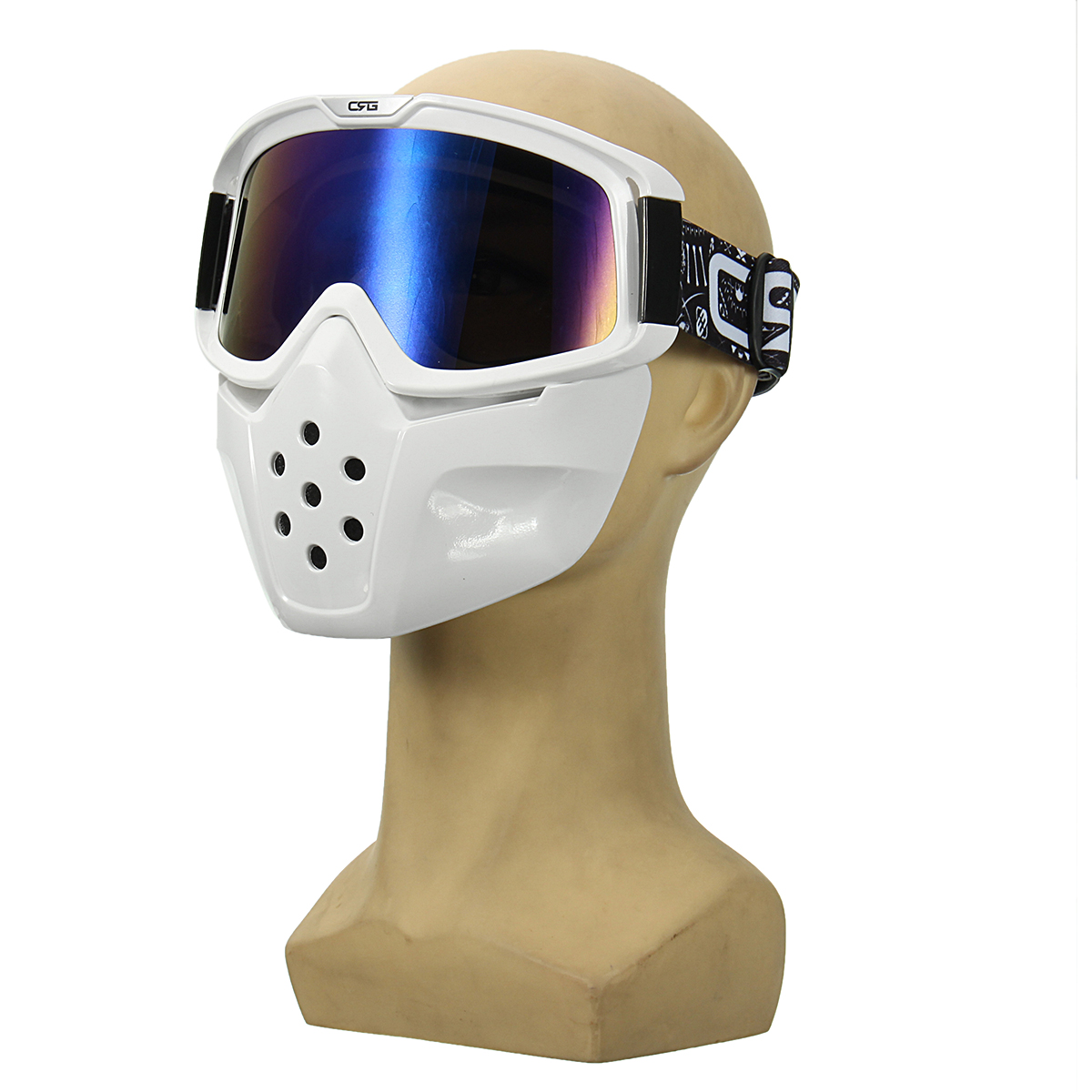 Detachable Goggles Face Mask Helmet Modular Shield Motorcycle Riding Blue Lens