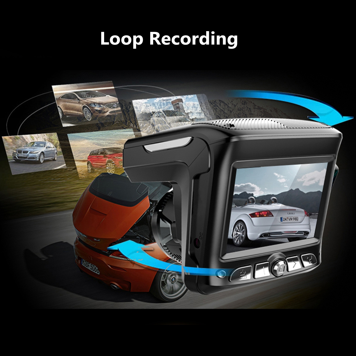 LCD HD Car DVR Camera IR Night Vision Video Tachograph G-sensor Cam Recorder Radar Detector