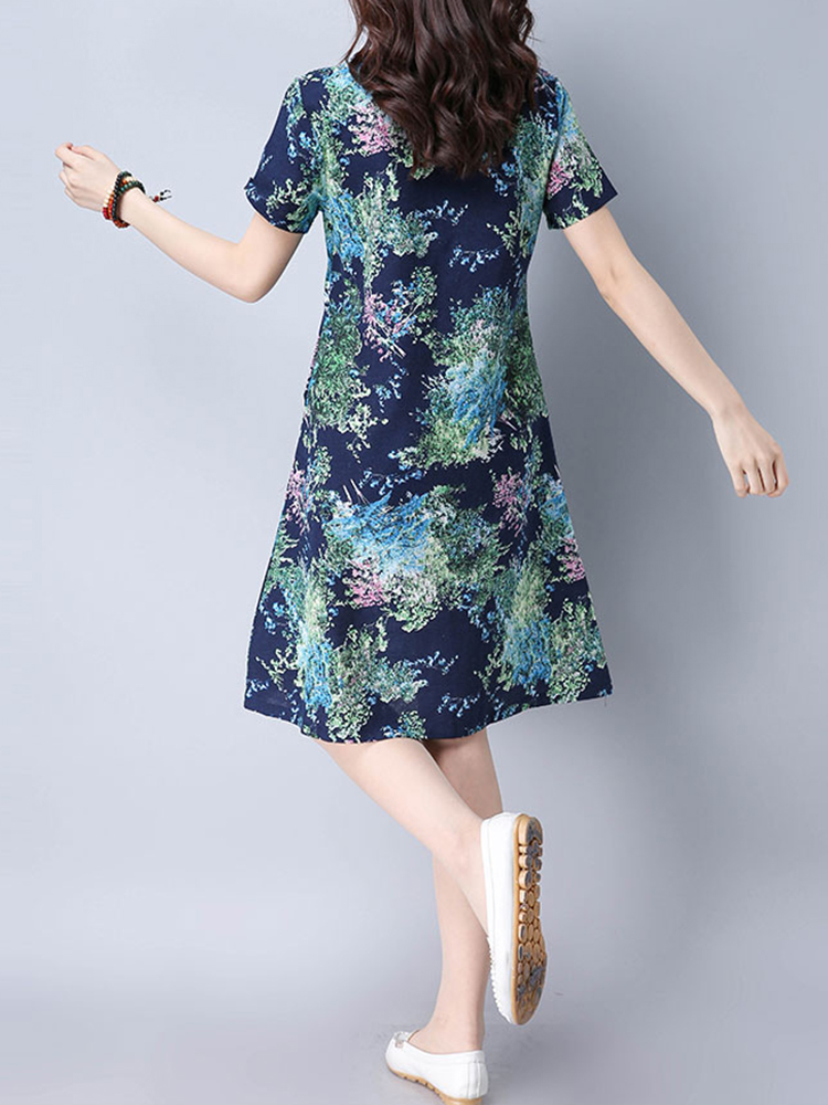 Vintage Women O-neck Printed Plate Buckle Short Sleeve Dresses