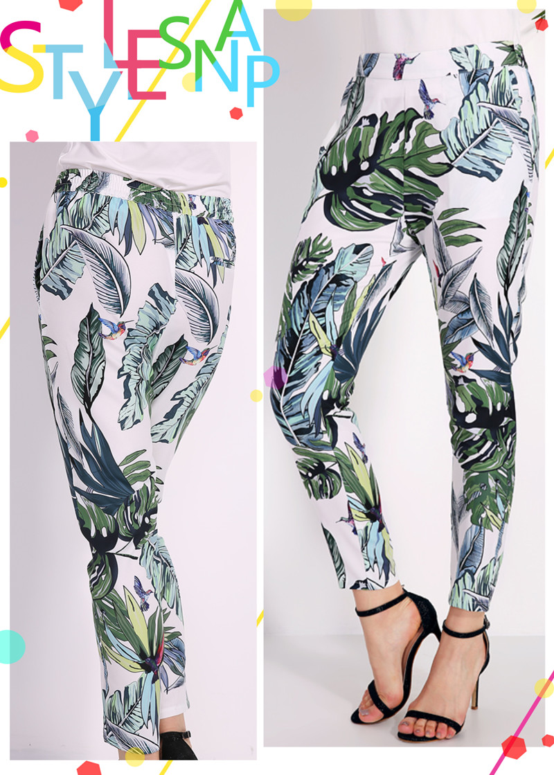 Women Leaf Printed Pockets Slim Pants
