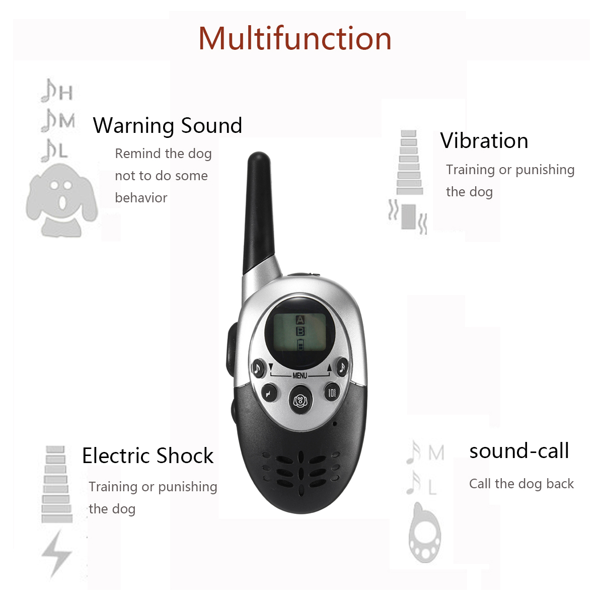 1000 Yard Rechargeable Waterproof LCD Shock Vibration Remote 2 Training Collar