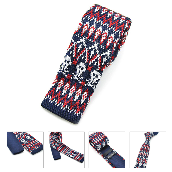 PenSee Men's Neckties Snowflake Plaids Slim Skinny Knitting Leisure Tie