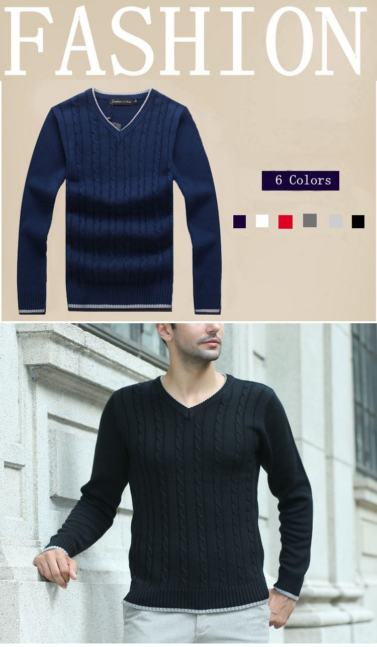Mens Cotton Warm Thick Knitted Sweater Casual V-Neck Collar Long Sleeve Knitwear Pullover