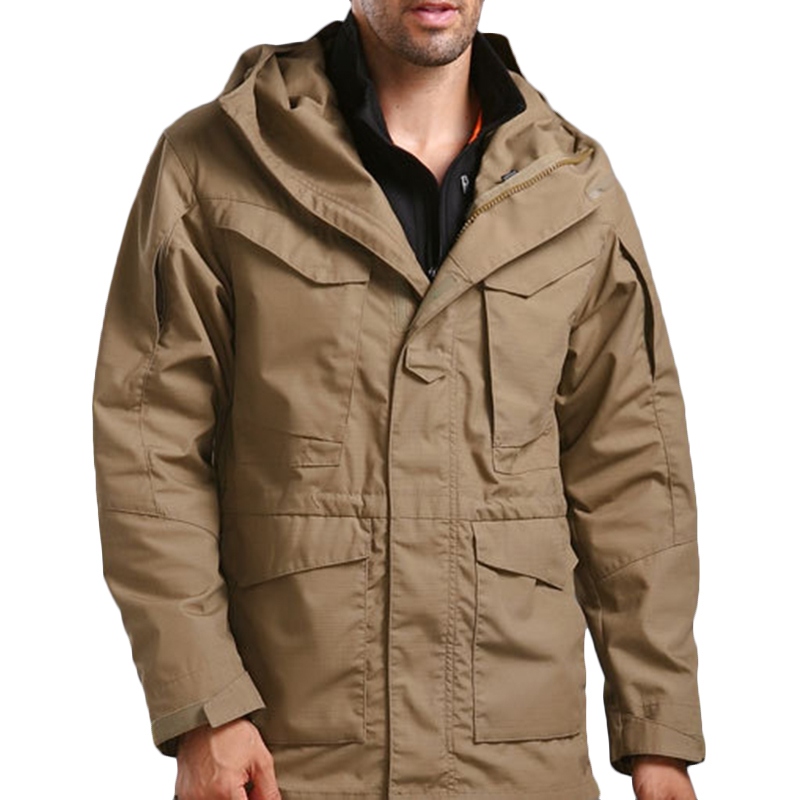 Mens Outdoor Tactical Multi-pocket Hooded Waterproof Jacket