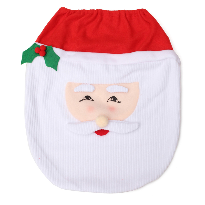 Creative Santa Toilet Seat Covers Toilet Sets Toilet Clothes Christmas Decorations Bath Mat Holder Closestool Lid Cover