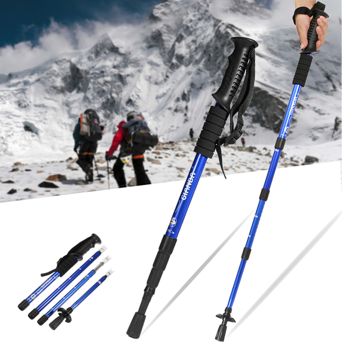 IPRee® 4 Section Hiking Walking Climbing Sticks Trekking Pole Adjustable Anti Shock Aluminum Canes 50-110cm