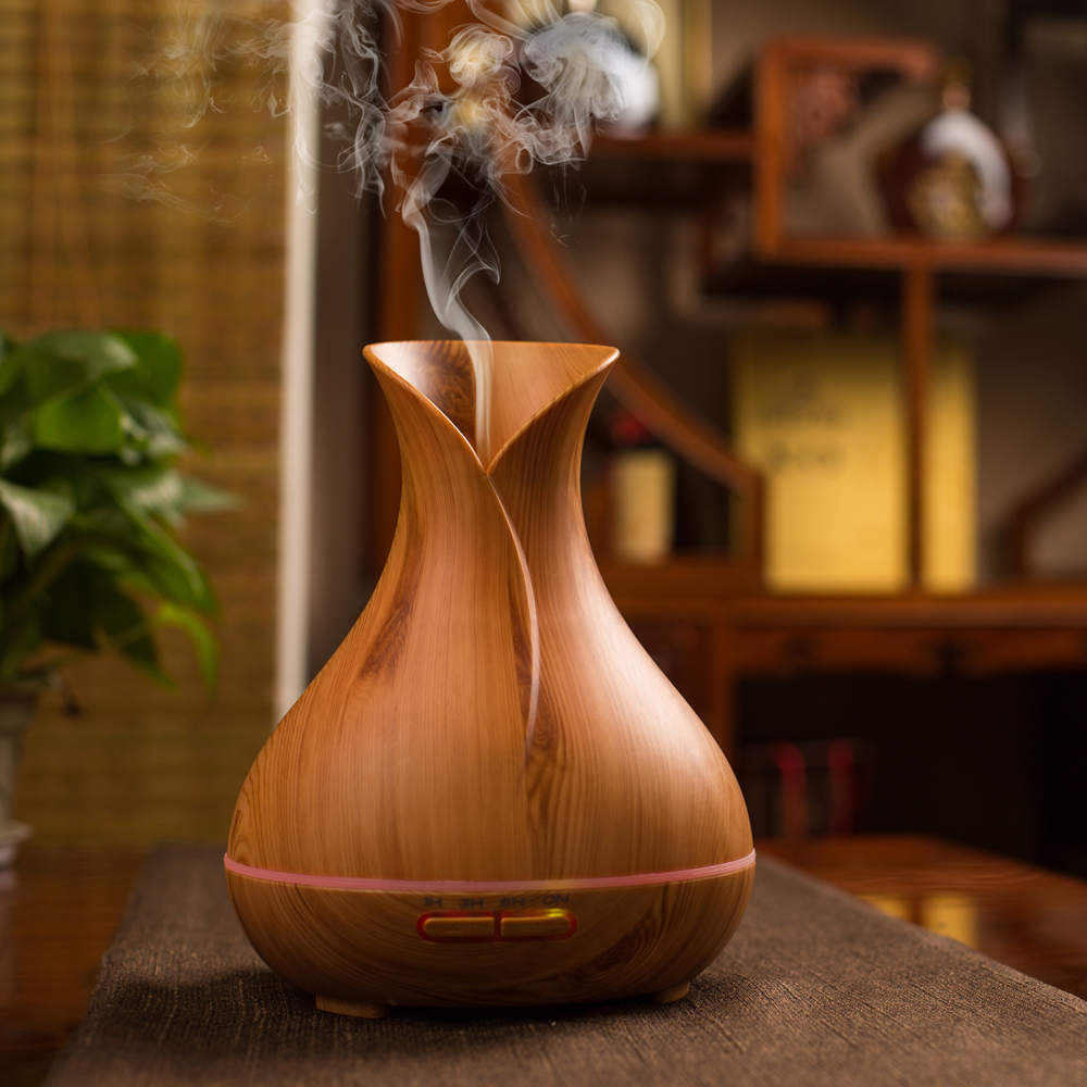Home 400ML Wood Grain Vase Shape 7 Colors LED Light Essential Oil Aroma Diffuser Air Purifier Air Humidifier