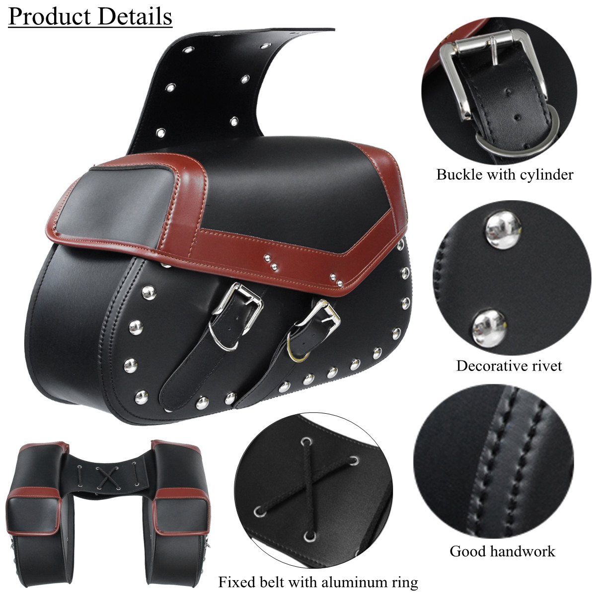 Motorcycle Saddlebags Saddle Bags Bike Side Storage Fork Tool Pouch For Harley/Honda