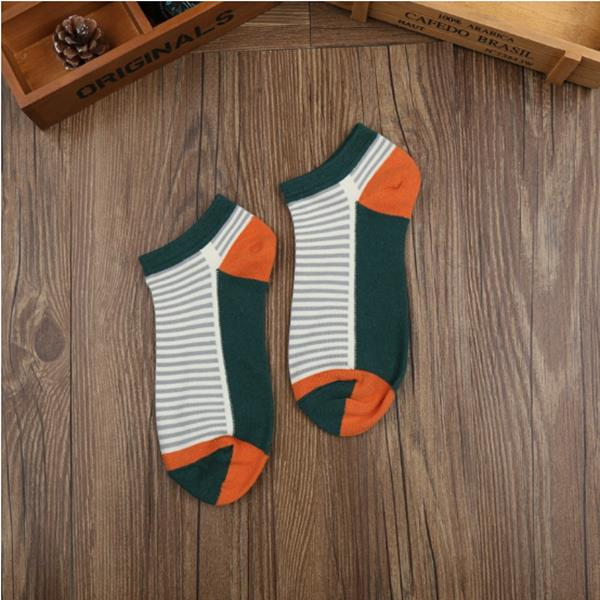 Women Ladies Cotton Stripe Ankle Socks Patchwork Striped Comfortable Boat Socks