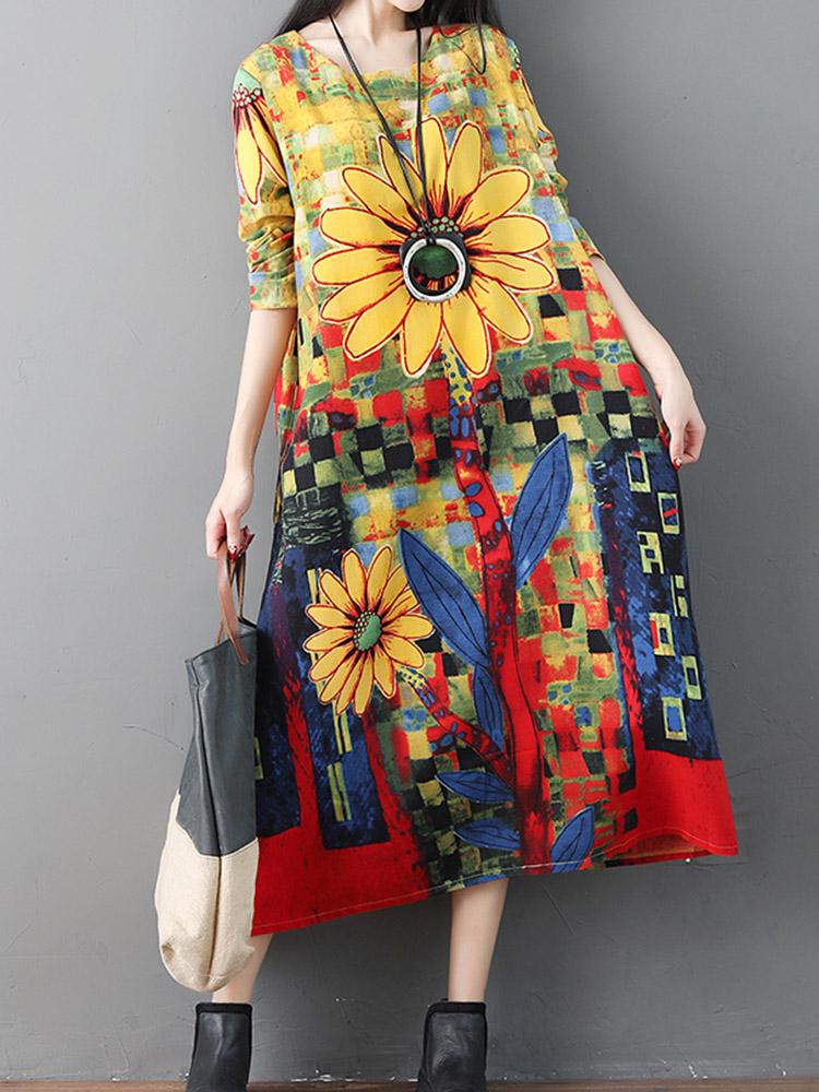Image of Elegant Floral Printed O-Ausschnitt Langarm Taschen Kleid