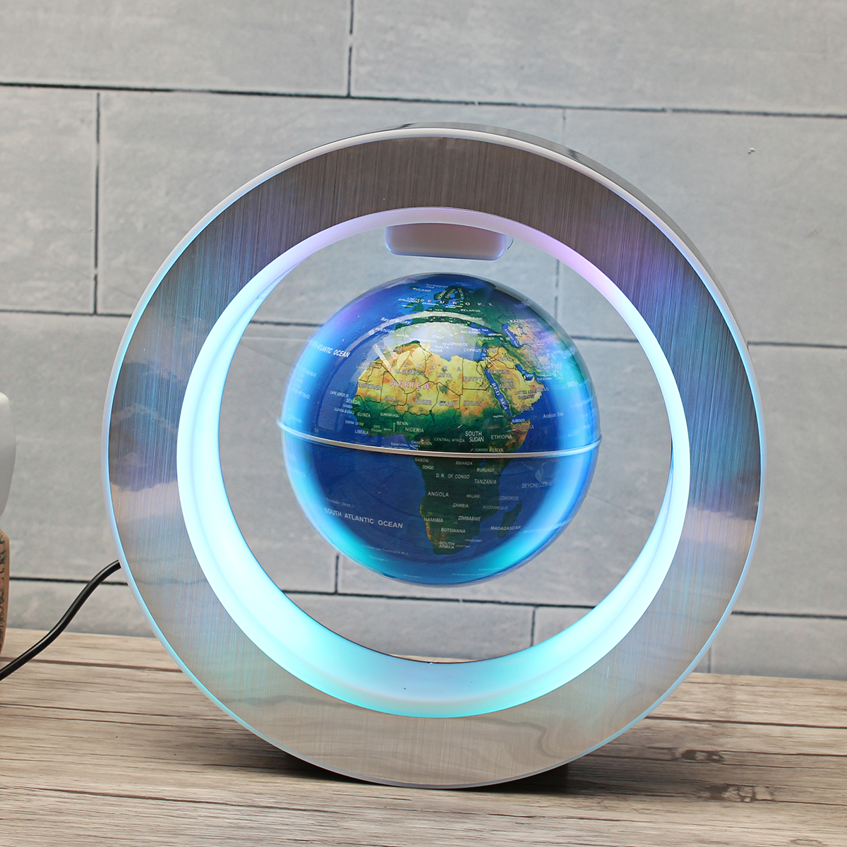 Magnetic Levitation Floating Globe Map LED Light Lamp O Shape Home Office Decoration Ornament