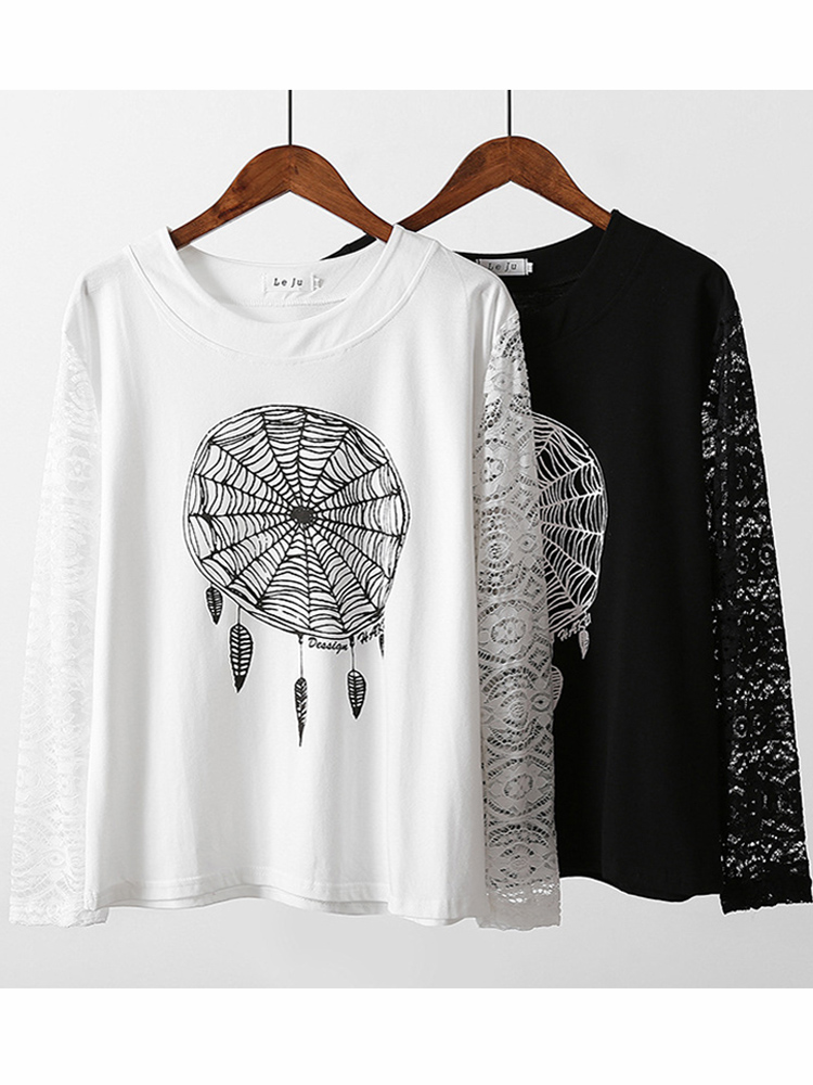Casual Women Printed Spader Web Lace Sleeve Stitching Hollow Shirt