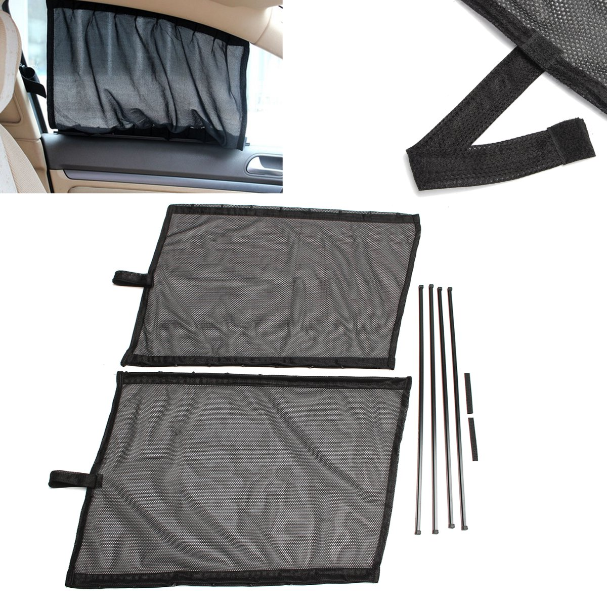 2Pcs Car Sunshade Curtain Uv Proof Side Window Black Mesh Gauze Guide Rail 545*370mm
