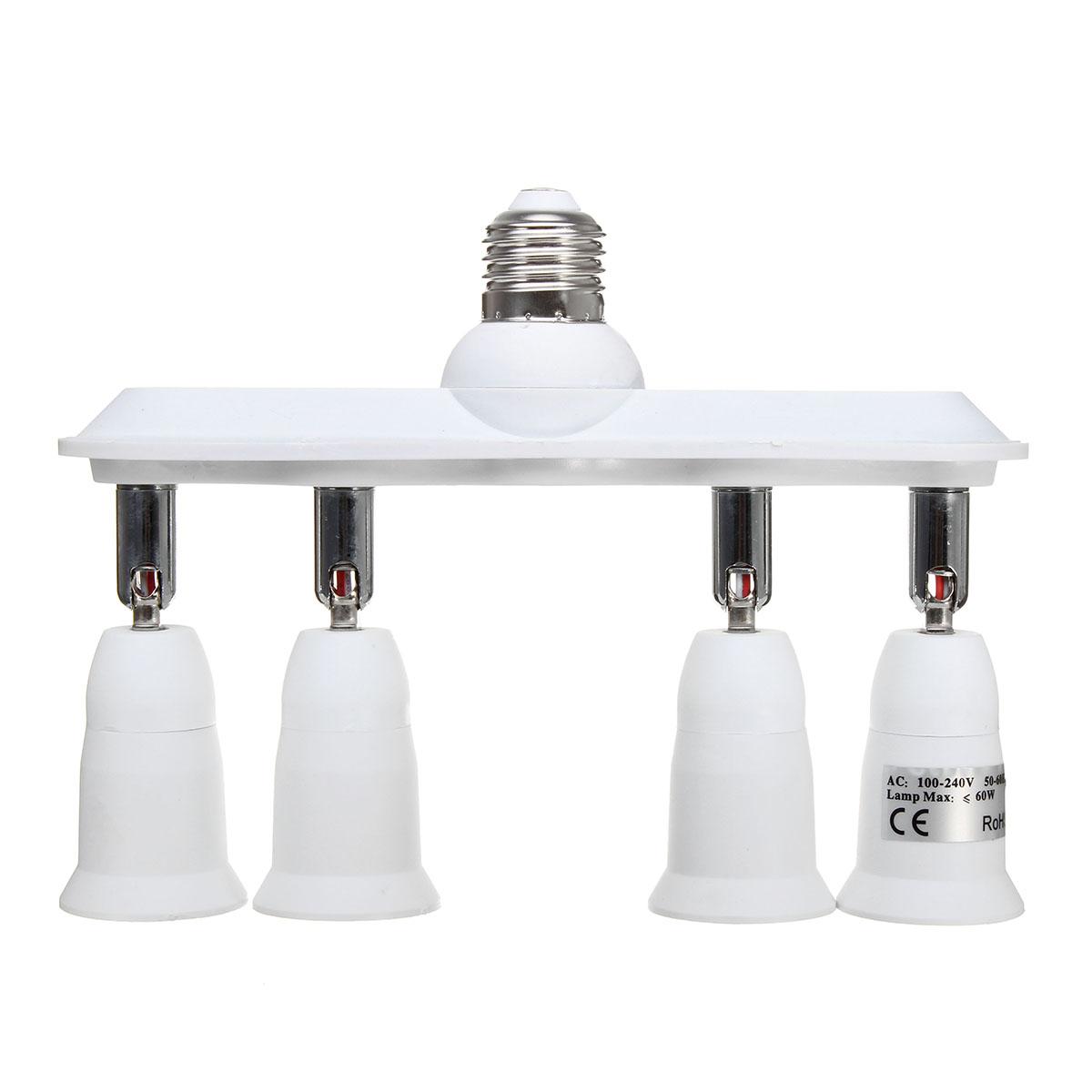 360 Degree Adjustable E27 to 4 E27 Light Bulb Socket Ad
