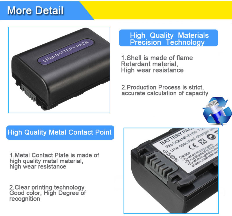 1150mAh 7.2 V Replacement Battery for Sony NP-FH50 NP-FH40 NP-FH30 NP-FH60 Alpha DSLR A230 A330 Digi