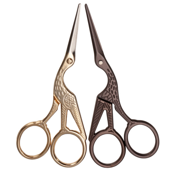 Gold Bronze Stork Embroidery Scissors Eyebrow Ear Hair Trimmer