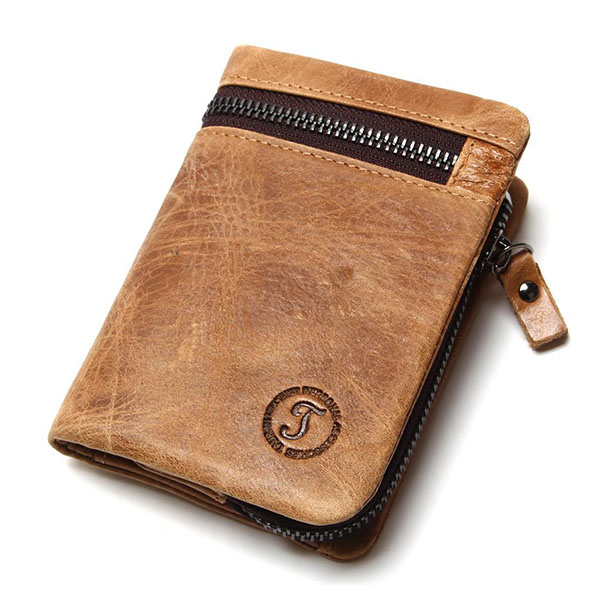 Men Brown Leather Wallet Retro Style Coin Pocket Purse