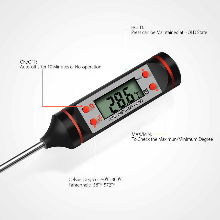 KCASA JR-1 Multifunction Digital Cooking Thermometer BBQ Barbecue Outdoor Picnic Food Tester