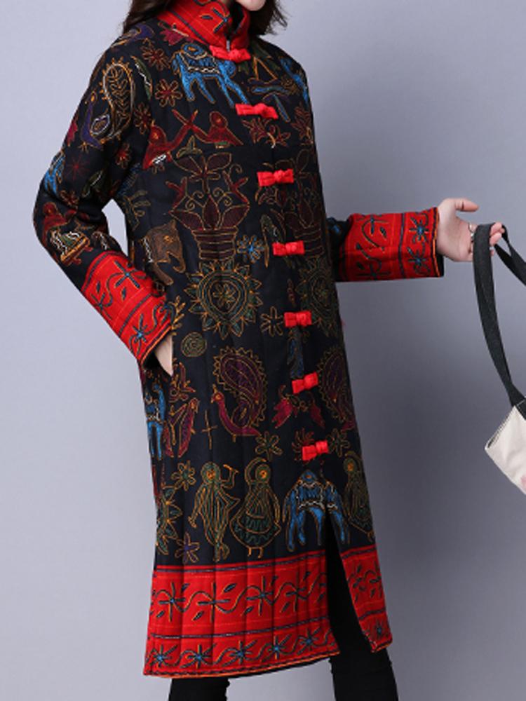 Vintage Women Folk Print  Stand Collar Long Sleeve Coats
