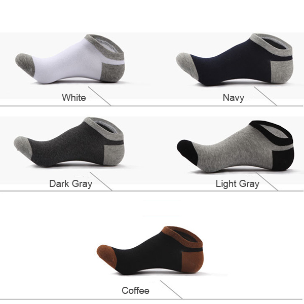 Mens Casual Contrast Color Cotton Summer Spring Breathable Boat Socks