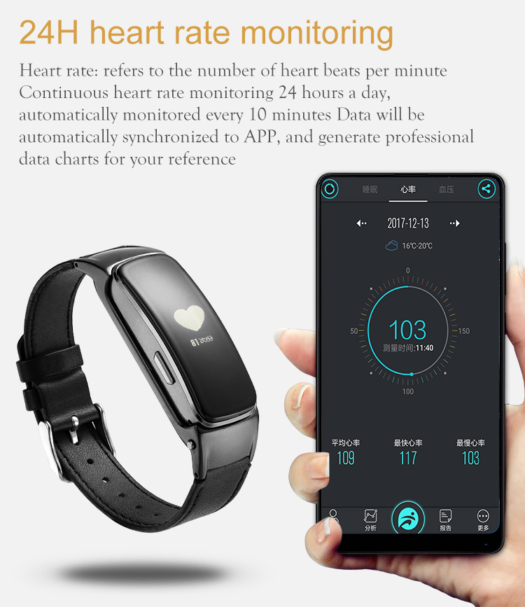 B3 PLUS bluetooth Headset Blood Pressure Talkband Fitness Tracker Smart Wristband for Mobile Phone