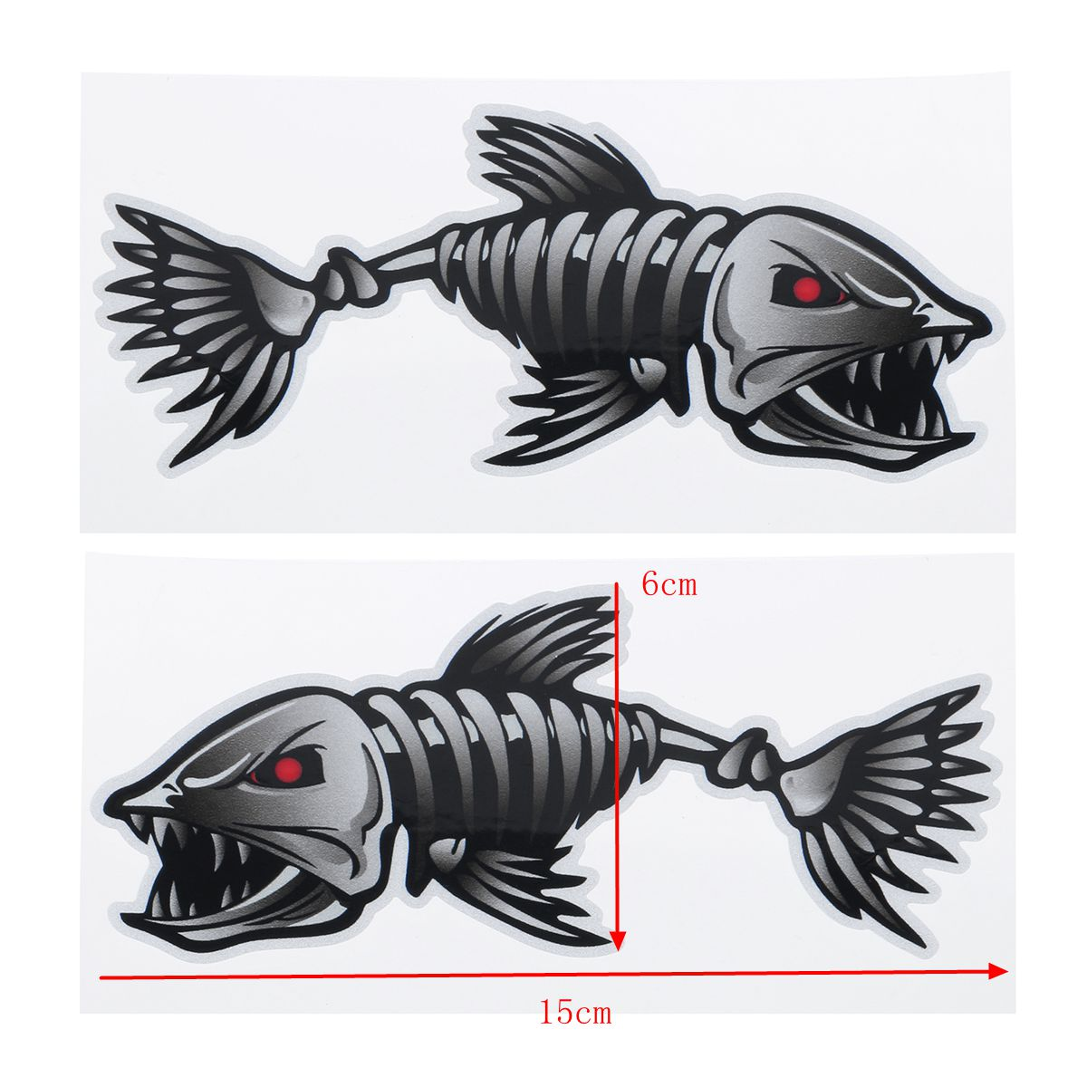 2Pcs 15X6cm Skeleton Fish Bones Car Stickers Vinyl Decals Auto Body Universal Decoration