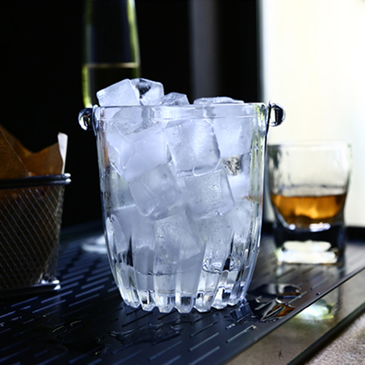 900mL Clear Glass Ice Bucket Beer Champagne Wine Cooler Bucket With Tong