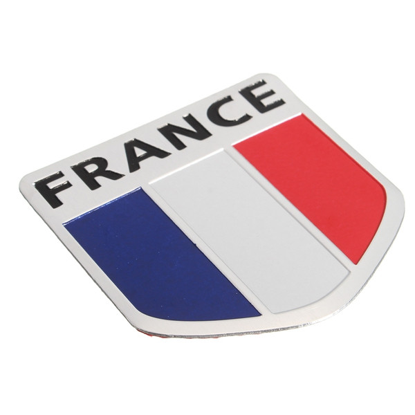 Aluminum Alloy Badge France French Flag Pettern 3D Sticker Shield Emblem Decal Decoration