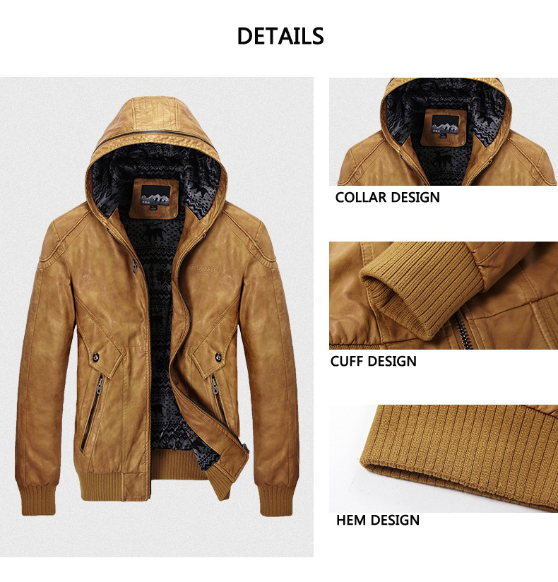 Fashion Casual Motorcycle Faux Leather Jackets PU Hooded Biker Coats for Men