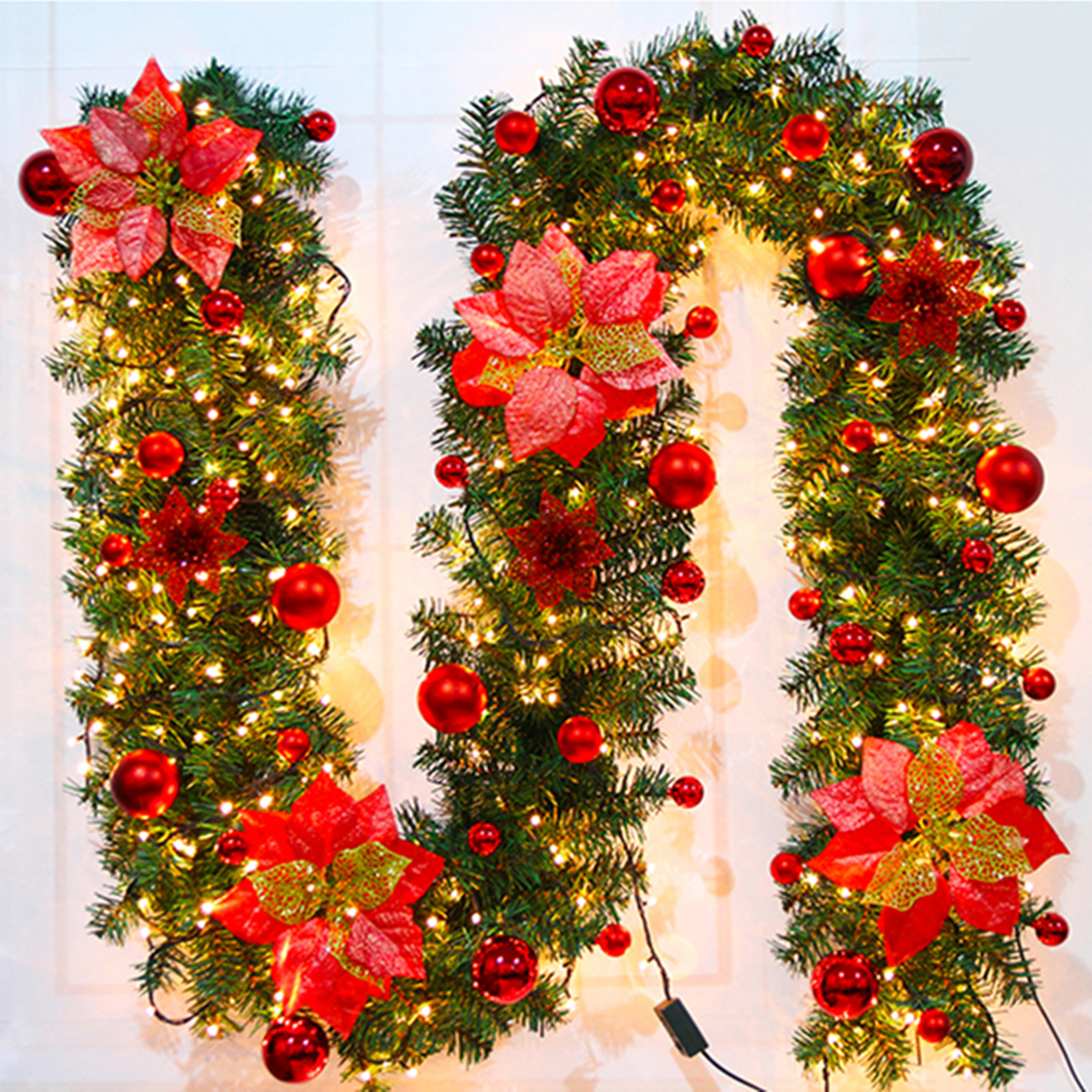 2.7M Christmas Decor Ornaments Christmas Tree Garland Rattan Bows Cane Home Wall Pine Decorations