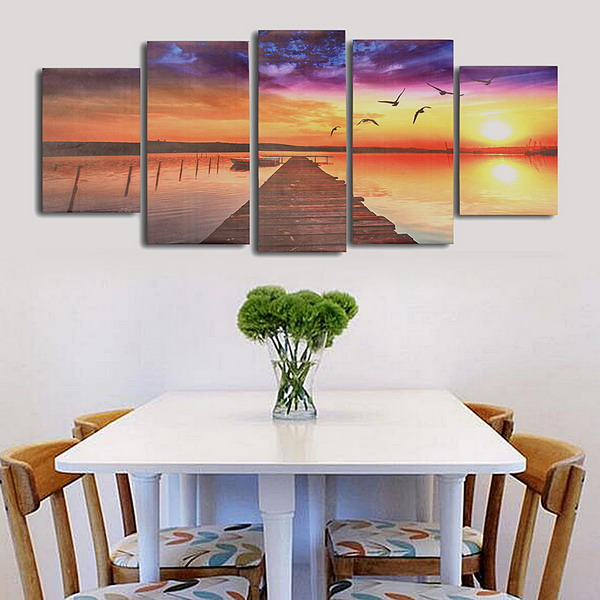 Frameless Modern Canvas Picture Wood Path Oil Painting